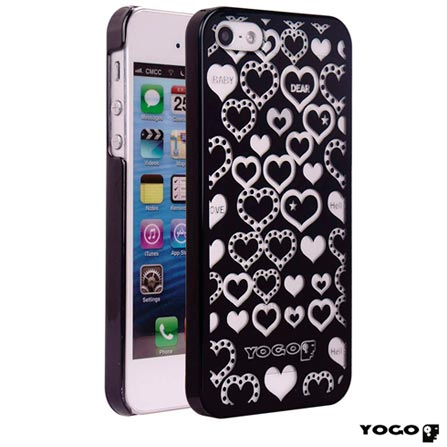 Capa Protetora Yogo com Desenhos de coração para iPhone 5S Preta, 06 meses