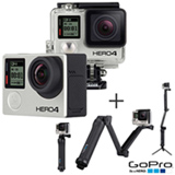 Filmadora GoPro Hero4 Black Adventure com 12 MP, Full HD e Filmagem 4K -  HERO4BLK + Suporte 3 Formas  - GoPro