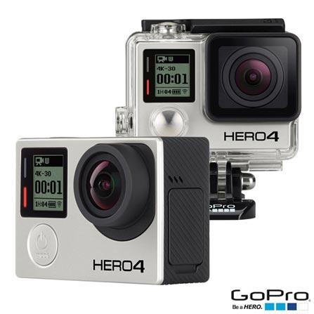 Filmadora GoPro Hero4 Black Adventure com 12 MP Filmagem em 4K - HERO4SILV + Suportes para Prancha de Surfe - ASURF-001, 0