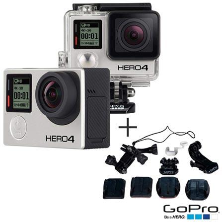 Filmadora GoPro Hero4 Black Adventure com 12 MP -  HERO4BLK + Kit de Suportes Diversos - AGBAG-001, 0