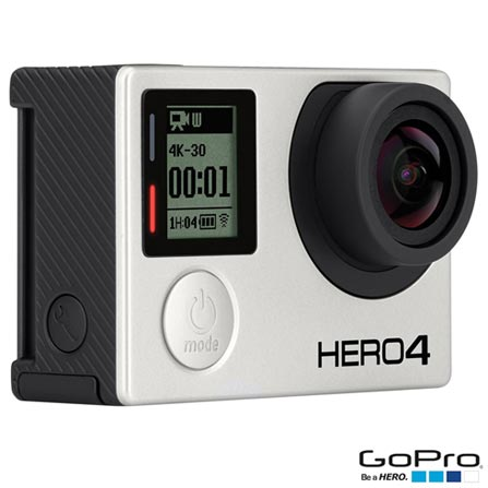 Filmadora GoPro Hero4 Black Adventure com 12 MP e Filmagem em 4K - HERO4BLK + Faixa de Cabeça + Quikclip Preto - GoPro, 0