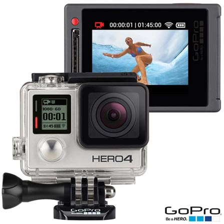 Filmadora GoPro Hero4 Silver Adventure com 12 MP - HERO4SILV + Kit de Suportes Diversos GoPro HERO3 - AGBAG-001, 0