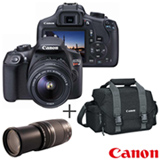 Camera Digital Canon EOS Rebel T6 DSLR Profissional 18MP - EOST6 + Bolsa Gadget Bag - 300DG + Lente Zoom Telefoto