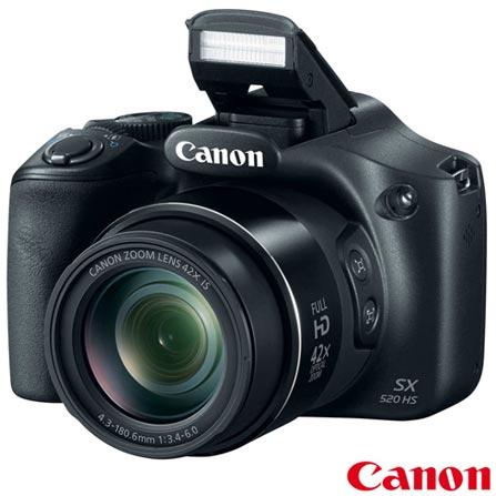 Câmera Digital Canon Powershot Super Zoom com 16 MP - SX520HS + Cartão SD Card 8 GB SF8N4QJ, 0