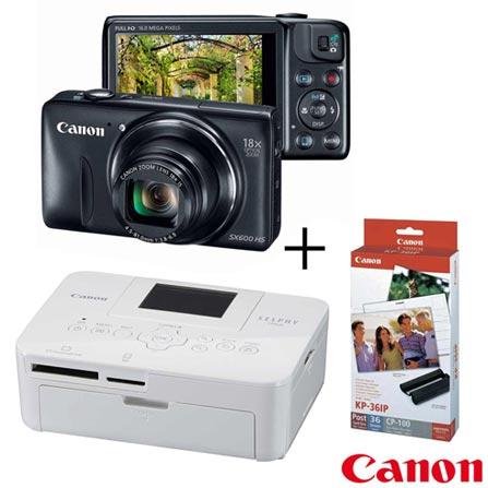 Câmera Compacta Digital SX600 + Impressora Fotográfica Portátil Canon Selphy CP820 + Papel Fotográfico Canon KP36IP, 0, De 14.1 MP a 16 MP