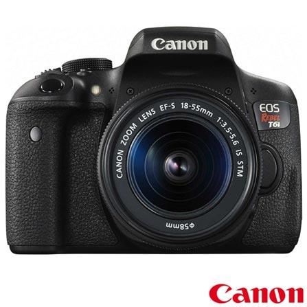 Câmera Digital Canon EOS Rebel T6i DSLR com 24.2 MP, Tela 3