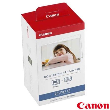 Papel Fotográfico Brilhante Canon KP108IN para Impressoras Fotográficas - KP108IN, DG