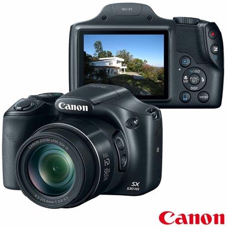 "Câmera Digital Canon PowerShot Superzoom com 16 MP, Tela de 3"", Zoom Óptico 50x e Filmagem em Full HD - SX530HS, Bivolt, Bivolt, Preto, 16 MP, 12 meses, De 14.1 MP a 16 MP"