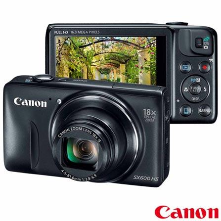Câmera Digital Canon Compacta Superzoom Powershot com 16 MP, Tela de 3