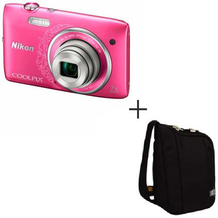 Câmera Digital Nikon Coolpix S3500 Rosa com 20.1 MP + Porta Câmera Camcorder Preto para Câmera Compacta Case Logic - XNDC5801, Acima de 18.1 MP, 0