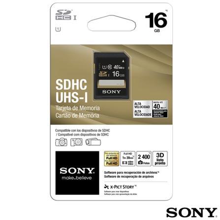 Cartão De Memória SDHC com 16 GB Classe 10 Sony, Cartões de Memória, 16 GB