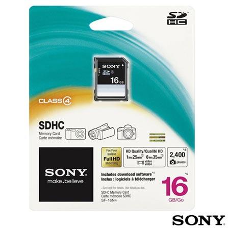 Cartão de Memória SDHC com 16 GB Class 4 Sony, Cartões de Memória, 16 GB