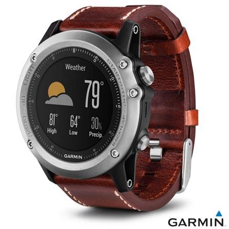 Relógio Garmin Fênix 3 Safira Prata e Marrom com Display 30 mm, GPS e Pulseira de Couro, Marrom e Prata, Relógio, Sim, 12 meses