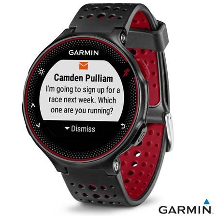 Relógio Garmin Forerunner 235 Preto e Vermelho com Display 25 mm, GPS e Pulseira de Borracha, Preto e Vermelho, Relógio, Não especificado, 12 meses