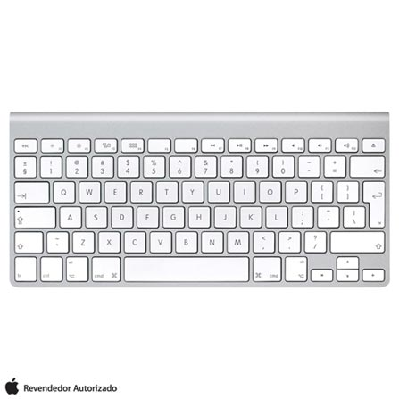 Teclado Wireless Keyboard Branco e Alumínio Apple, Branco, 12 meses