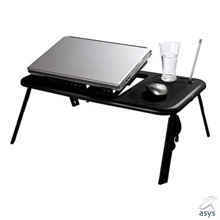 Mesa para Notebook Dobravel com 02 Coolers Asys, Preto, 12 meses, Periféricos