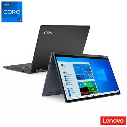 """Notebook - Lenovo 82lw0001br I7-1165g7 1.00ghz 8gb 256gb Ssd Intel Iris Xe Graphics Windows 10 Home Yoga 7i 14"""" Polegadas"""