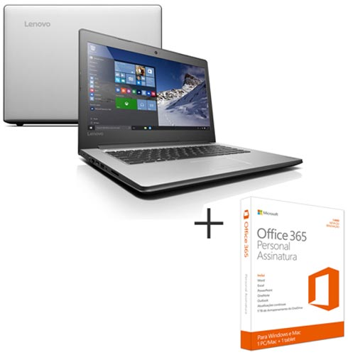 Notebook Lenovo, Core i3-6006U, 4GB, 1TB, 14'' Ideapad - 80UG0009BR + Microsoft Office 365 Personal, 0