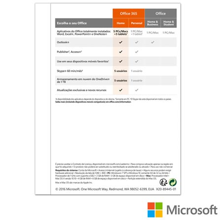 Pacote Office 365 Home Microsoft Premium com Assinatura Anual - 6G-Q00647 LIT, Softwares, 12 meses