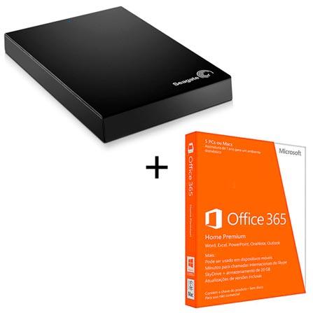 HD Externo de 01 TB e conexão USB 3.0 + Microsoft Office 365 Home Premium para PC ou MAC com Cinco Licenças, 0