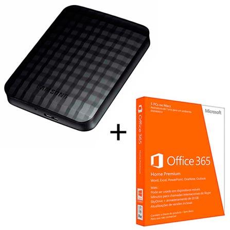HD Externo Portátil Samsung 1 TB + Microsoft Office 365 Home Premium para PC ou MAC com Cinco Licenças, 0