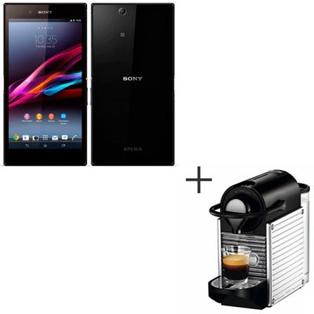 Smartphone Sony Xperia Z Ultra Preto com TV Digital + Máquina de Café Espresso Automática - Nespresso, 0, Android acima de 4'', 1 ano
