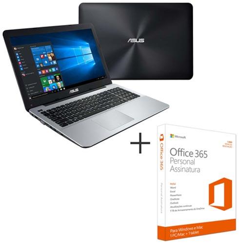 Notebook Asus, Intel Core i5 - 6200U, 8 GB, 1 TB, 15,6, NVIDIA GeForce 940M - X555UB + Office 365 Personal, 0, Core i5 acima de 15''