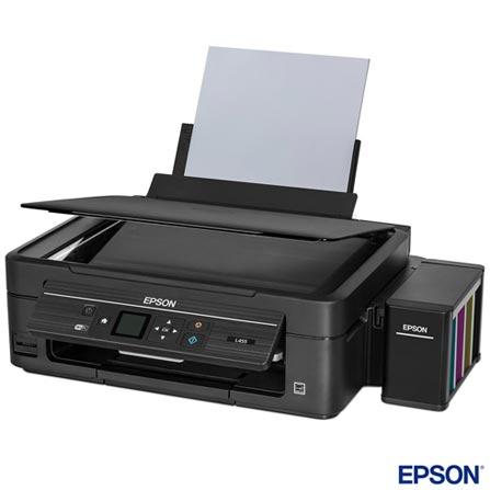 Multifuncional Epson EcoTank Jato de Tinta com Wi-Fi - L455, Bivolt, Bivolt, Preto, USB, Wi-Fi, Epson Connect e Cartão de Memória, Colorida, Sim, Não, Sim, Sim, Não, 12 meses, Jato de Tinta, LCD, 33 ppm, Sim