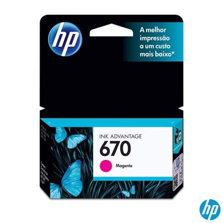 Cartucho HP 670 para Impressão em Jato de Tinta Magenta - 670M, Não se aplica, Cartuchos