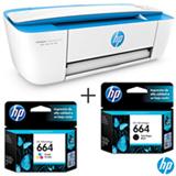 Multifuncional DeskJet Ink Advantage 3776 Jato de Tinta HP + Cartucho de Tinta Tri-color + Cartucho de Tinta Preta