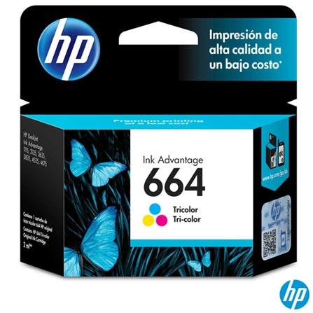 Cartucho de Tinta HP 664 para HP DeskJet Ink Advantage 1115, 2136, 3636, 3836, 4536 e 4676 Tri-color, Colorido