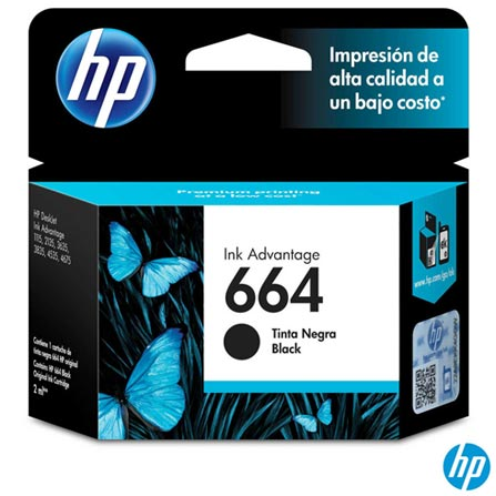 Cartucho de Tinta HP 664 para HP DeskJet Ink Advantage 1115, 2136, 3636, 3836, 4536 e 4676 Preta, Preto