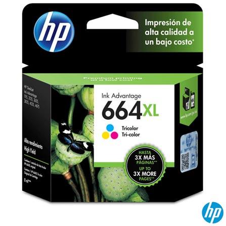 Cartucho de Tinta HP 664XL para HP DeskJet Ink Advantage 1115, 2136, 3636, 3836, 4536 e 4676 Tri-color, Colorido