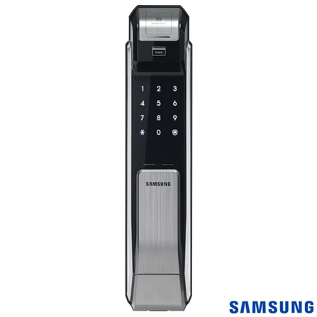Fechadura Digital Biométrica Samsung Capacitivo com até 100 Digitais Prata e Preto - SHS-P718, Prata e Preto, 12 meses