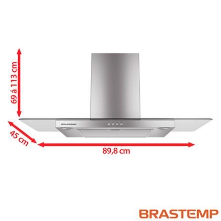Coifa de Parede 90 cm BA190 Inox – Brastemp, 110V, 220V, Parede, 90 cm, Inox, 110V (7891129217546) /                         220V (7891129217553)