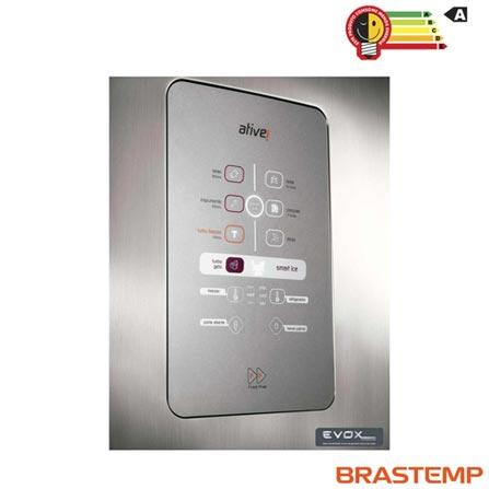 Refrigerador de 02 Portas Frost Free Brastemp Ative com 403 Litros Inox e Cinza - BRM48NK, 110V, 220V, Inox, 02 Portas, 02 Portas, Não, De 141 a 350 litros, 403 Litros, 317 Litros, 86 Litros, Sim, Sim, Sim, Sim, Sim, Não, Não, Sim, Sim, 04, Vidro temperado removíveis, Sim, Sim, Sim, Sim, A, 53 kWh/mês, 12 meses