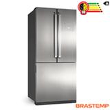 Refrigerador Side by Side Inverse Brastemp de 03 Portas Frost Free com 540 Litros Inox e Cinza - BRO80AK