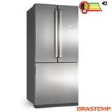 Refrigerador Side by Side Inverse Brastemp de 03 Portas Frost Free em Evox com 540 Litros Cor Inox e Cinza - BRO80AK