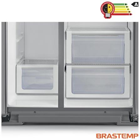 Refrigerador Side by Side Brastemp Gourmand com 02 Portas Frost Free com 539 Litros Inox - BRS75BR, 110V, Inox, Acima de 500 litros, 539 Litros, 539 Litros, 181 Litros, 358 Litros, 72 kWh/mês, Sim, Sim, Sim, 12 meses, 02 Portas, Side by Side, A