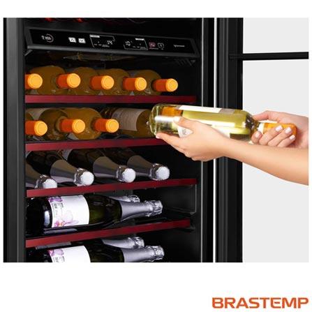 Adega de Vinhos Brastemp para 31 Garrafas com até 18° C - BZB31, 110V, Prata, Compressor, 31 Garrafas, 05 Prateleiras, de 8° C a 18° C, Não especificado, Não especificado, 12 meses