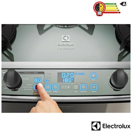 Fogao de Piso Electrolux de 05 Bocas Conectado com Duplo Forno e Painel Blue Touch Inox - 76DWG, 110V, 220V, Inox, Piso, a Gás, GLP, 05 Bocas, Superautomático, Não especificado, Touch, 02, 94,5 L (Forno Grande) e 38,8 L (Forno Pequeno), Sim, Sim, Sim, Sim, Não, A, A, 0,14 kg/h, 12 meses
