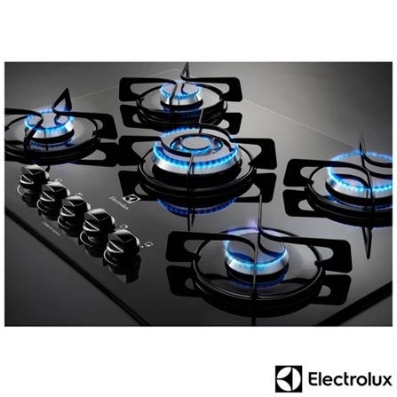 Cooktop a Gas de 05 Bocas Preto - GC75V + Forno Eletrico de Embutir Electrolux com 80 Litros Inox 220V - OE8MX, 1