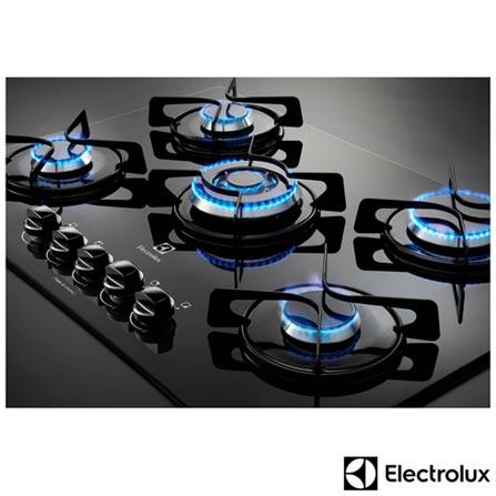 Cooktop a Gas de 05 Bocas Preto - GC75V + Coifa de Parede Electrolux 90 cm com 03 Velocidades Inox 110V - 90CT, 0