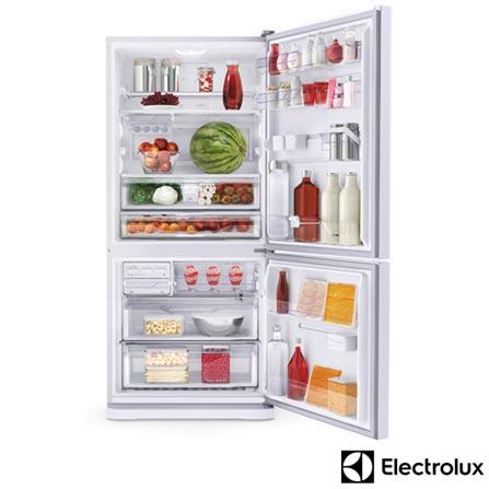 Refrigerador Bottom Freezer de 2 Portas Frost Free Electrolux com 598 Litros, Branco - DB83, 110V, 220V, Branco, 02 Portas, 02 Portas, Não, Acima de 500 litros, 598 Litros, 402 Litros, 196 Litros, Sim, Sim, Sim, Sim, Sim, Não se aplica, Não, Sim, Sim, Não especificado, Vidro temperado removíveis, Não, Não, Não, Sim, A, 73 kWh/mês, 12 meses