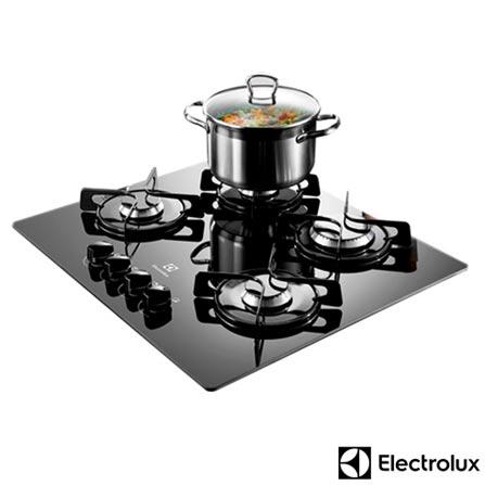 Cooktop a Gás de 04 Bocas Electrolux com Acendimento Super Automático, 15 Níveis de Potência Preto - GC60V, Bivolt, Bivolt, Preto, Gás, 04 Bocas, Superautomático, Manual, Não, Sim, Sim, Vidro, Não, Não especificado, A, 12 meses