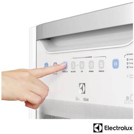 Lava Louca com 08 Servicos Electrolux com Painel Blue Touch Branco - LE08B, 110V, 220V, Branco, 08 Serviços, 06 Programas, Sim, Não, Sim, Líquido secante, Não, Não, Não, Sim, Sim, 110V - 780 kWh e 220V - 1400 kWh, Não especificado, Não especificado, Não especificado, até 65°C, A, 12 meses
