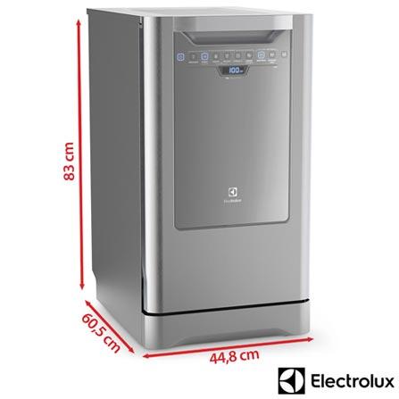 Lava-Loucas Electrolux Inox com 10 Servicos, 06 Programas de Lavagem e Painel Blue Touch - LI10X, 110V, 220V, Inox, 10 Serviços, 06 Programas, Sim, Não, Sim, Líquido secante, Não, Sim, Não, Sim, Sim, 110V - 1250 kWh e 220V - 1760 kWh, Não especificado, Não especificado, Não especificado, até 70ºC, A, 12 meses