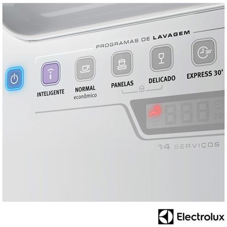 Lava Loucas com 14 Servicos Electrolux e Painel Blue Touch Branco - LI14B, 110V, 220V, Branco, 14 Serviços, 06 Programas, Sim, Não, Sim, Líquido secante, Não, Sim, Não, Sim, Sim, 110V - 1250 kWh e 220V - 1760 kWh, Não especificado, Não especificado, Não especificado, até 70ºC, A, 12 meses