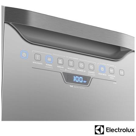 Lava-Loucas Electrolux Inox com 14 Servicos, 06 Programas de Lavagem e Painel Blue Touch - LI14X, 110V, 220V, Inox, 14 Serviços, 06 Programas, Sim, Não, Sim, Líquido secante, Não, Sim, Não, Sim, Sim, 110V - 1250 kWh e 220V - 1760 kWh, Não especificado, Não especificado, Não especificado, até 70ºC, A, 12 meses