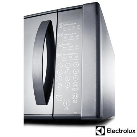 Micro-ondas Electrolux com 31 Litros de Capacidade e Grill Inox - MEC41, 110V, 220V, Inox, Mesa, Acima de 30 litros, 31 Litros, Aço Inox, Sim, Sim, 10, Sim, 1000 W, Não especificado, 12 meses